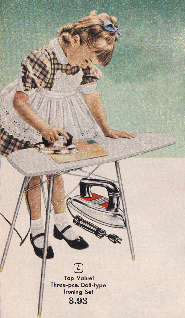 Toy ironing board and iron